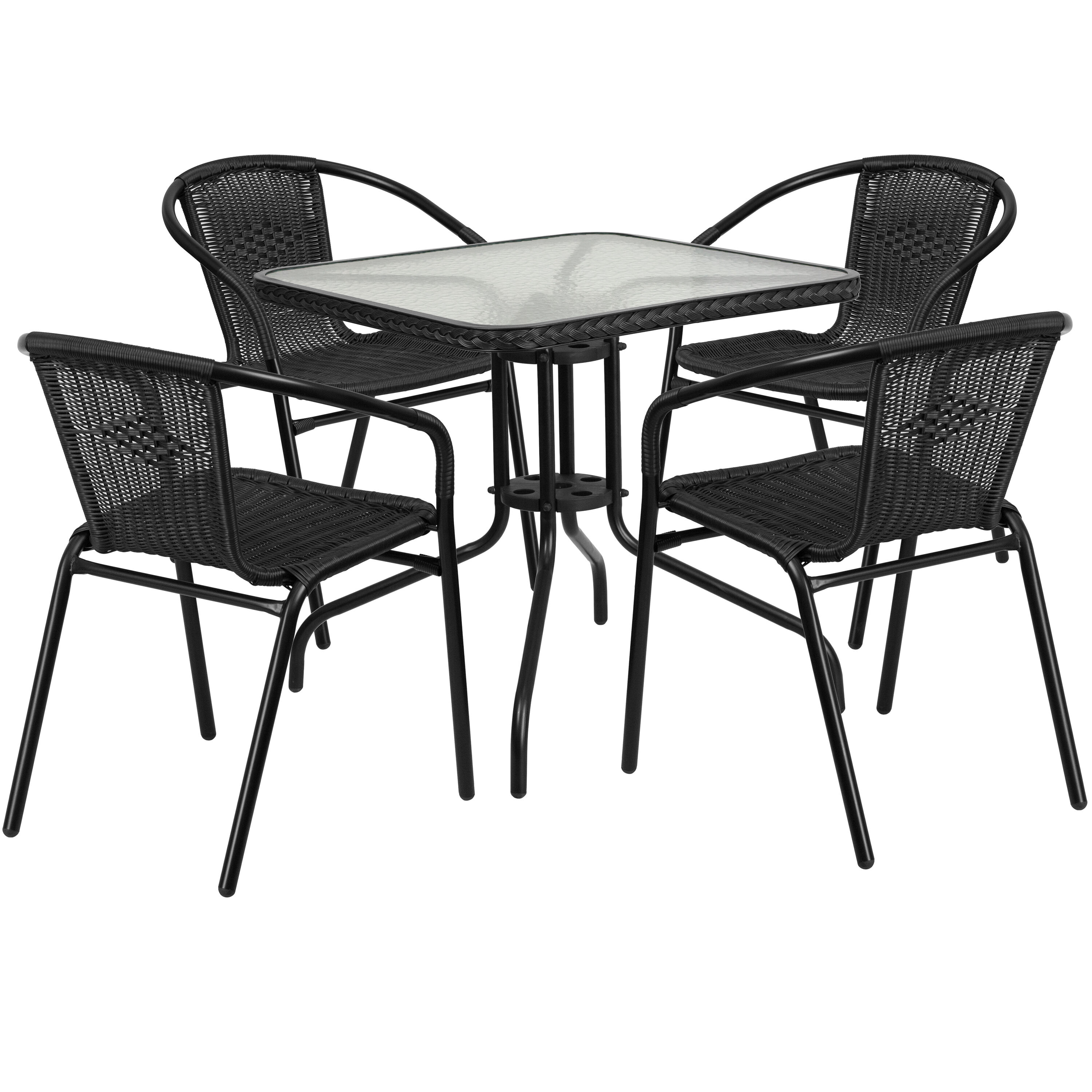 Rattan Table 28 Square Glass Metal Table With Black Rattan Edging And 4 Black Rattan Stack Chairs