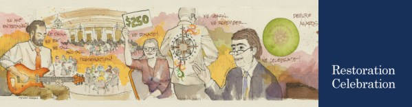 Watercolor of various people at the 2015 Restoration Celebration