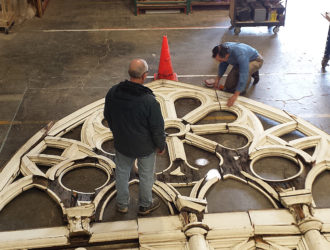 Versatile rebuilt the tracery panels for the First Congregational Church - one of Oregon's Most Endangered Places