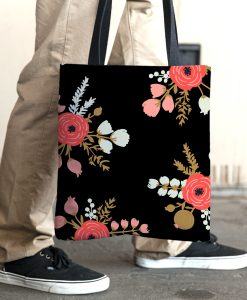 Roses Black Tote Bag