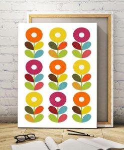Scandinavian flowers canvas art vertical