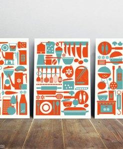 Kitchen art print set from three