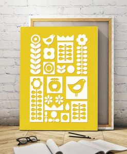 Scandinavian ornament canvas yellow