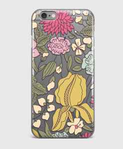 Floral sketch transparent iPhone case