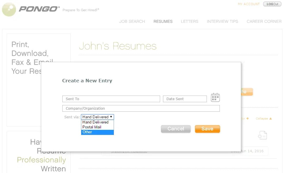 pongo resume builder