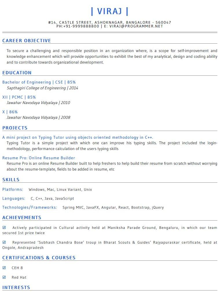 Resume Templates - Online Resume Builder Resume Pro