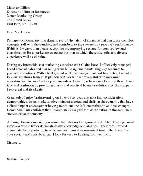 Internship Cover Letter Example - internship cover letter