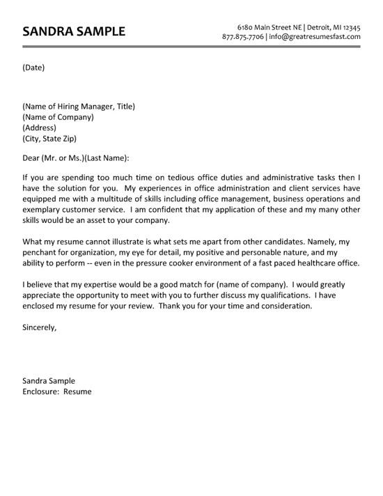 free resume cover letter examples for administrative assistants