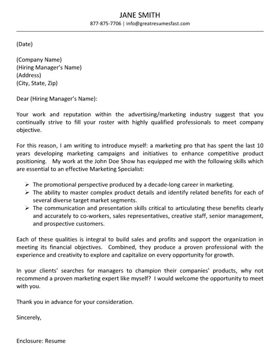 Advertising Cover Letter Example - Cover Letter To A Company