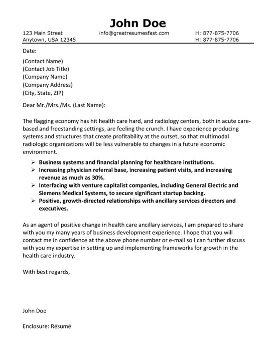 healthcare cover letter templates