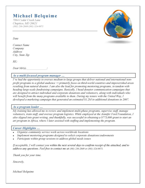 Program Manager Cover Letter Example - example of resume application letter