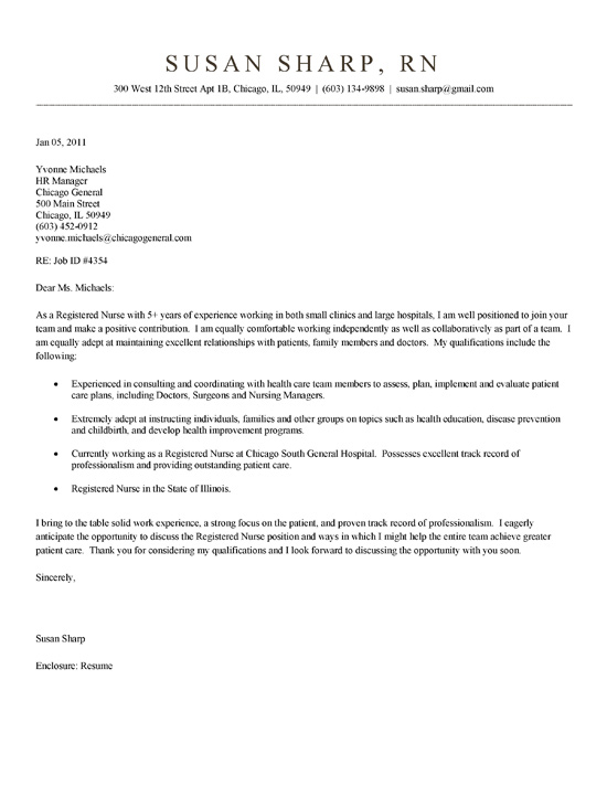 sample cover letter for nursing resumes - Canasbergdorfbib