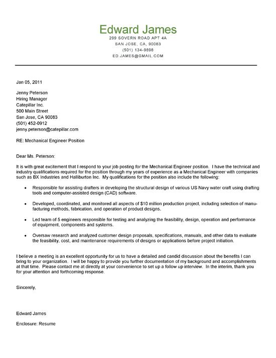 Mechanical Engineer Cover Letter Example - Cover Letters Examples