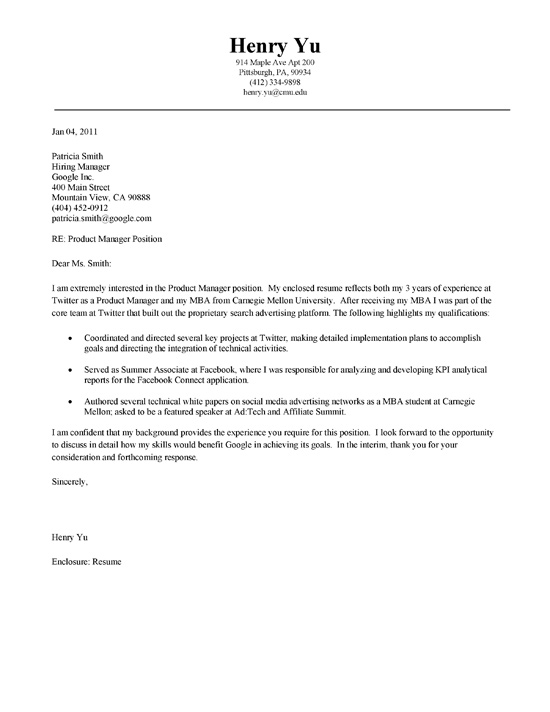 MBA Cover Letter Example - best cover letter for resume examples