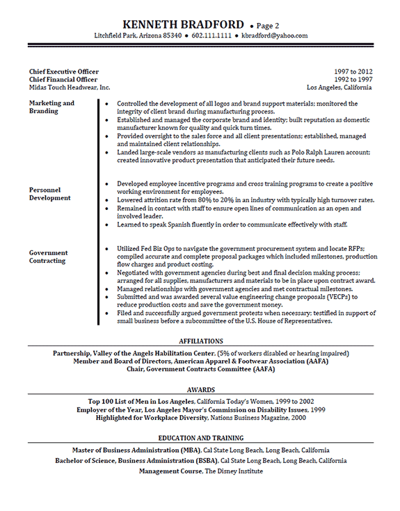 example overview statements for resumes