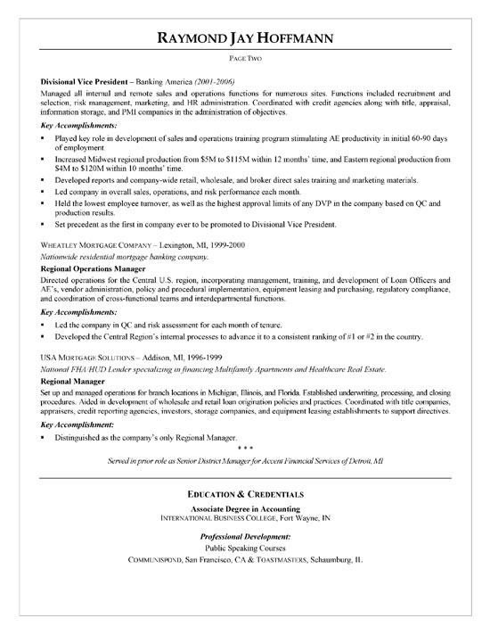 Mortgage Banker Resume Example - bank loan officer sample resume