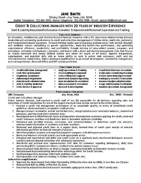 Collections Resume Example - resume for jobs examples