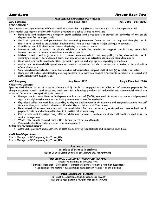 collector resume samples