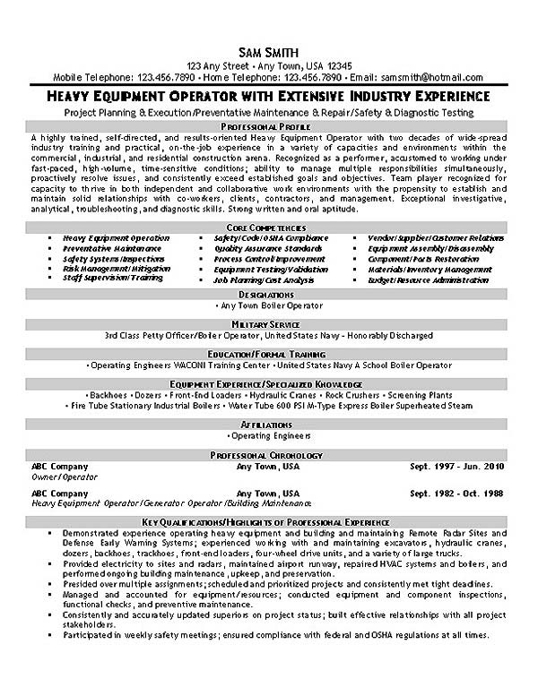 Equipment Operator Resume Example - boiler plant operator sample resume