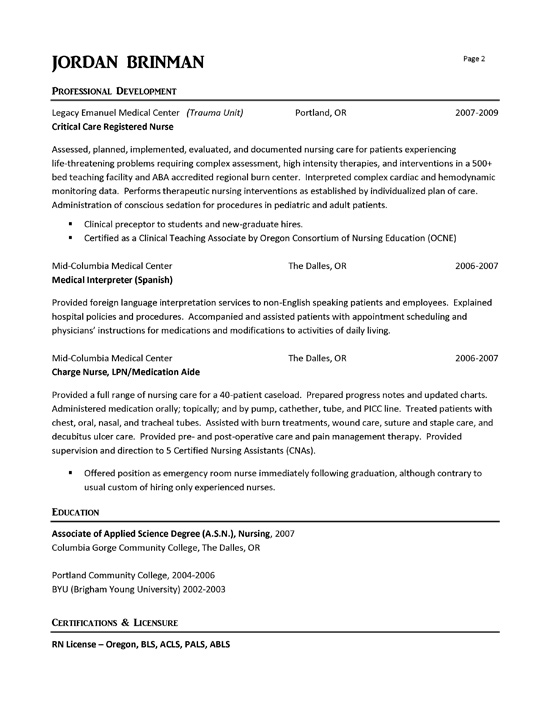 ER Nurse Resume Example - resume examples for nursing