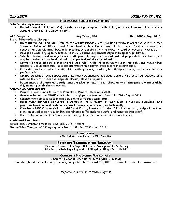 resume examples of work history