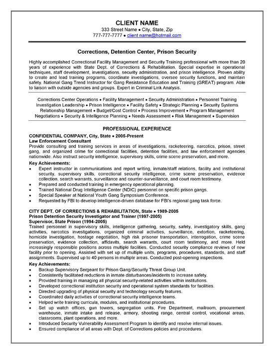Corrections Officer Resume Example - corrections officer resume