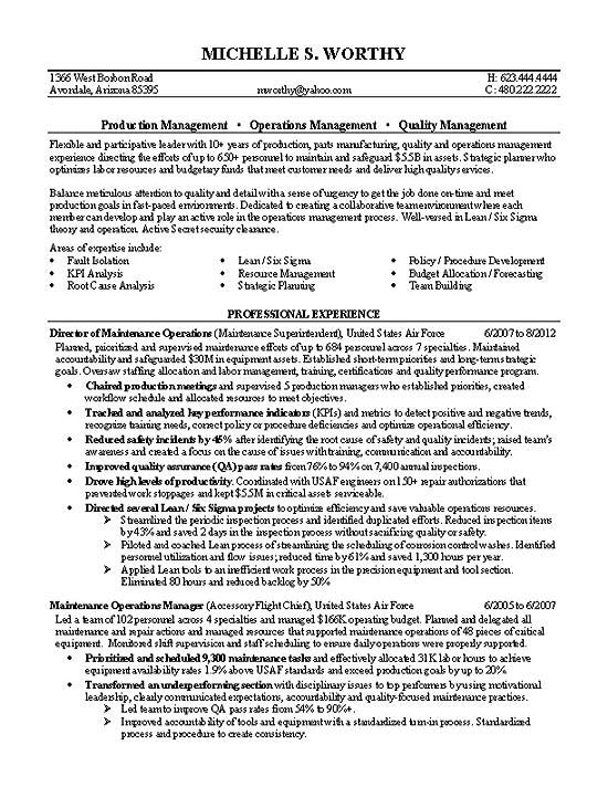Quality Manager Resume Example - managment resumes
