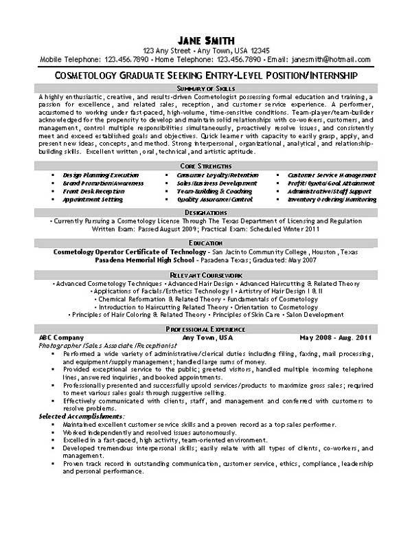 cosmetology resume skills examples