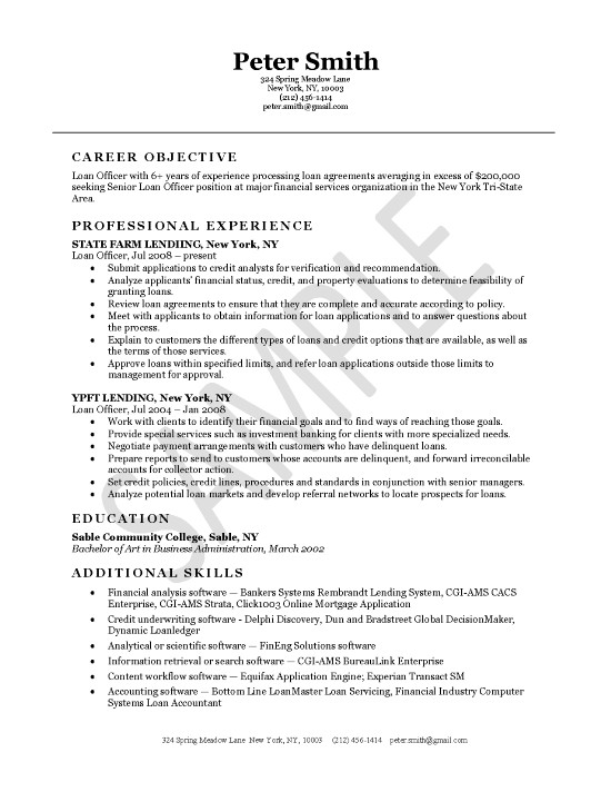 Loan Officer Resume Example - systems accountant sample resume