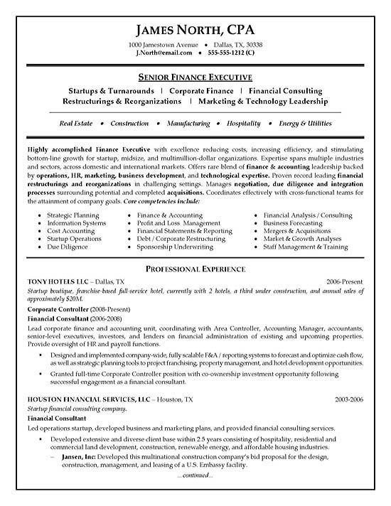 Financial Consultant Resume Example - resume for jobs examples