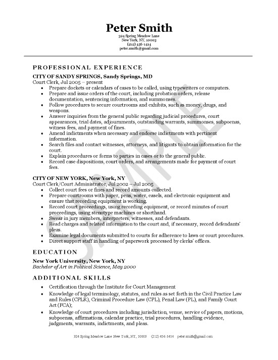 Court Clerk Resume Example - Managing Clerk Sample Resume