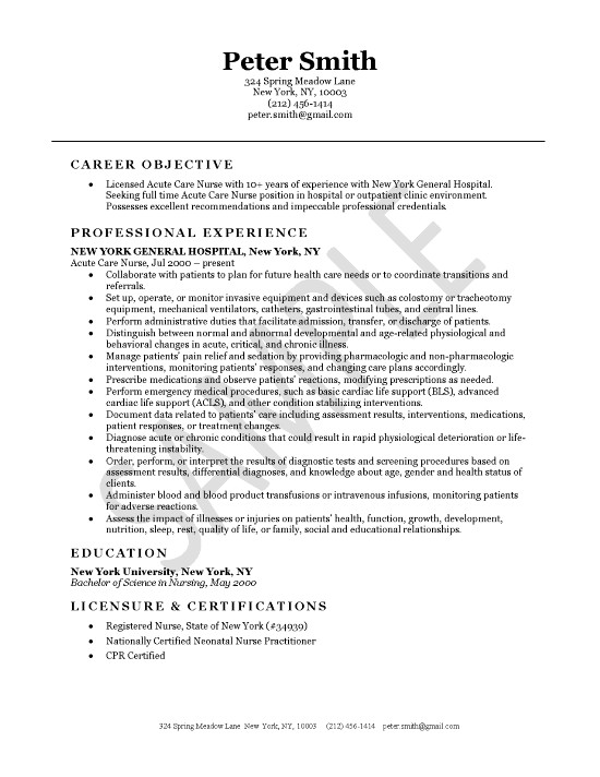 Acute Care Nursing Resume Example - objective for nursing resumes
