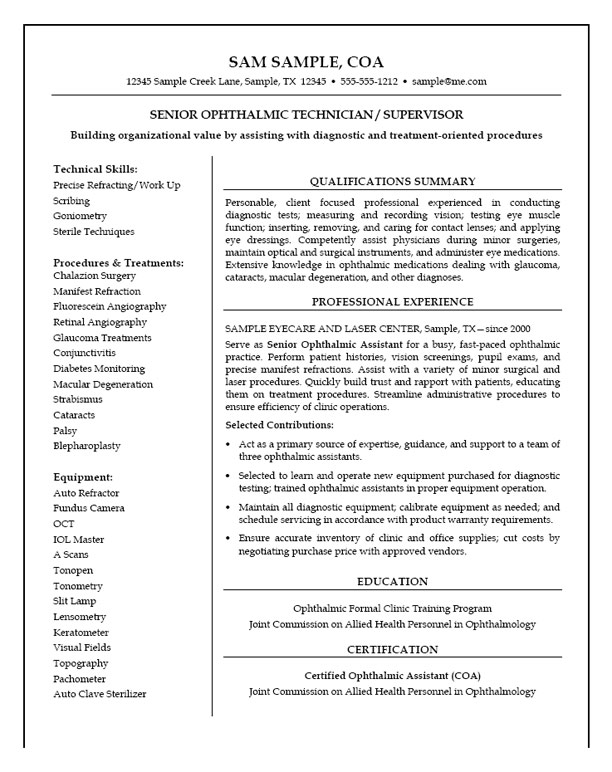 medical lab tech resume sample