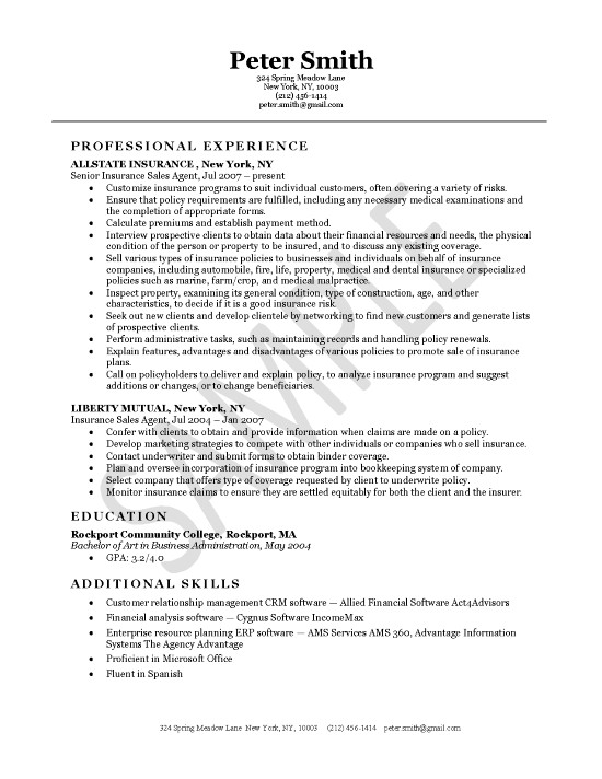 Insurance Agent Resume Example - job description examples for resume