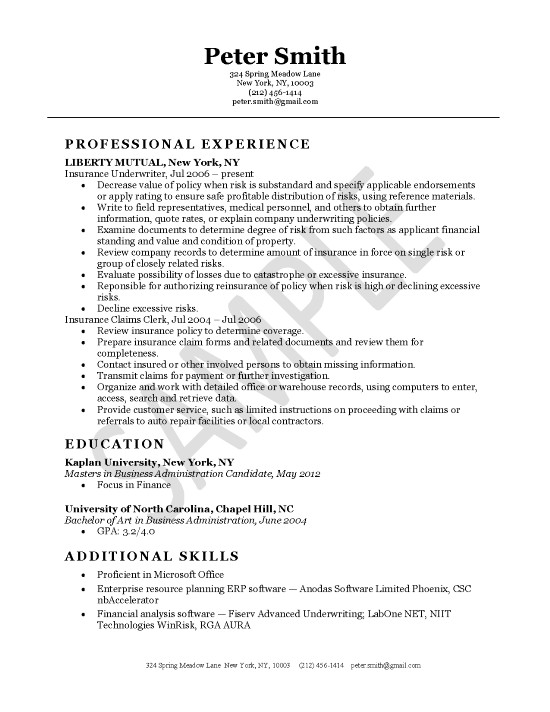 Insurance Underwriter Resume Example - Sample Of Resume Templates