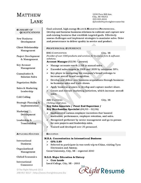 Account Manager Resume Example - example qualifications for resume