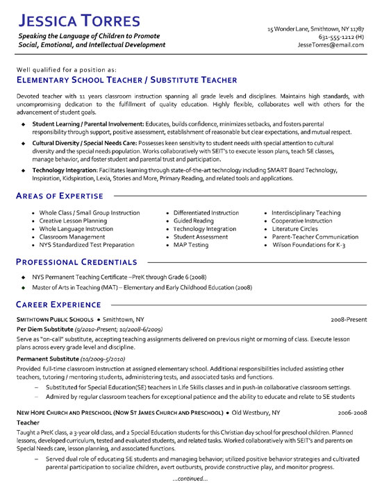 Substitute Teacher Resume Example - professional teacher resume