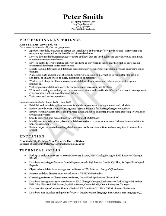Database Administrator Resume Example - resume format for administration