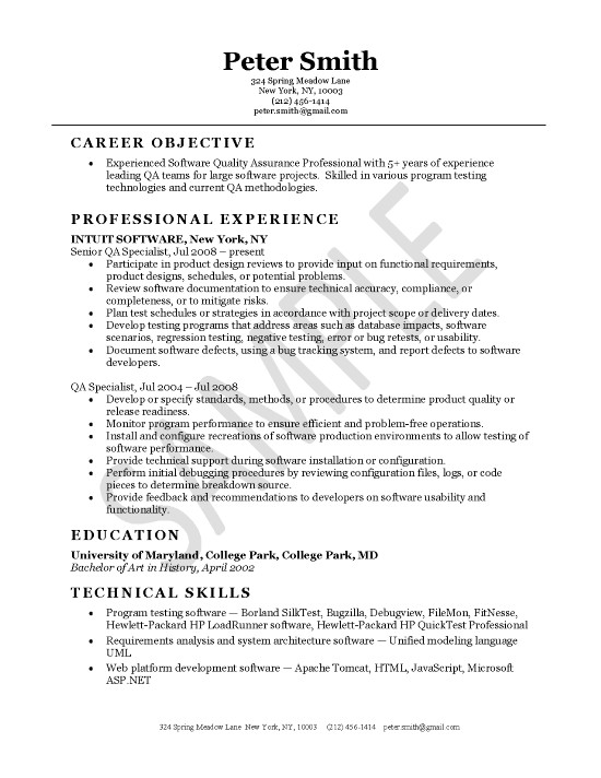 Quality Assurance Resume Example - software testing sample resume