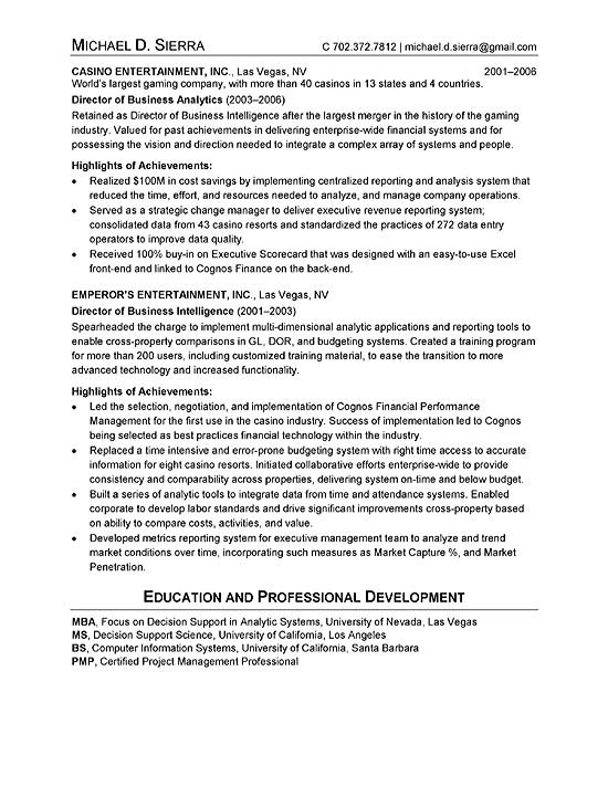 Chief Information Officer CIO Resume Example