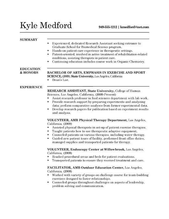 resume sample of research assistant
