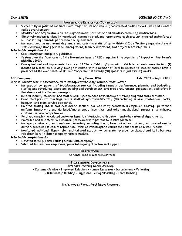 customer service hospitality resume