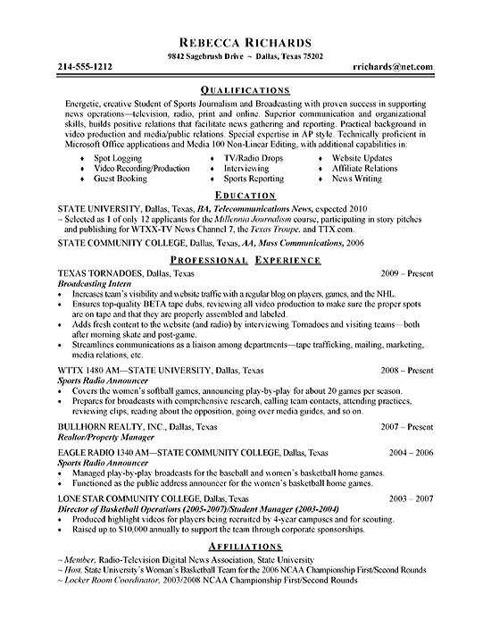 college intern resume examples