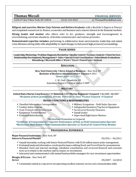 University Student Resume Example - Sample
