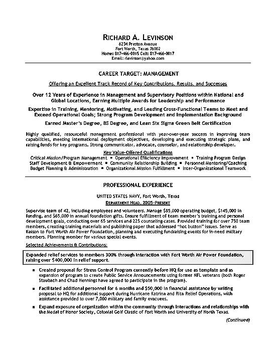 Department Manager Resume Example - Master Resume Example