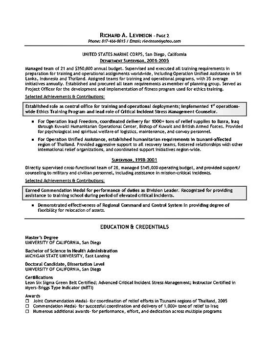 resume summary examples for military
