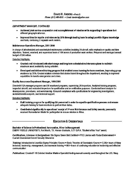 Logistics Resume Example - Operations, Production, Military - military experience resume example