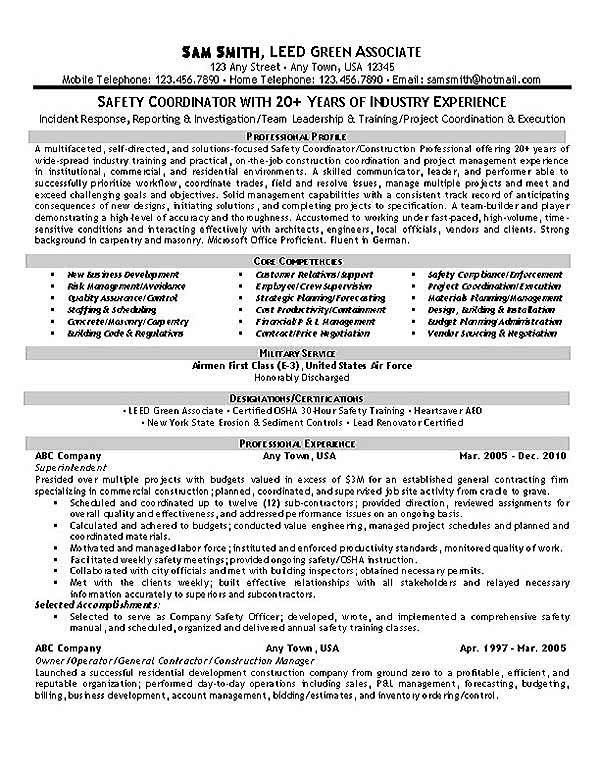 Safety Coordinator Resume Example - health trainer sample resume