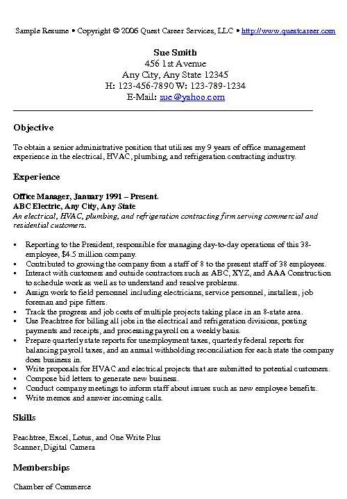 sample resume objective for office administrator