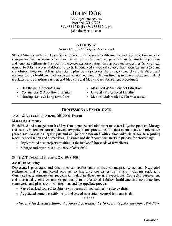 Healthcare Attorney Resume Example - Managing Clerk Sample Resume